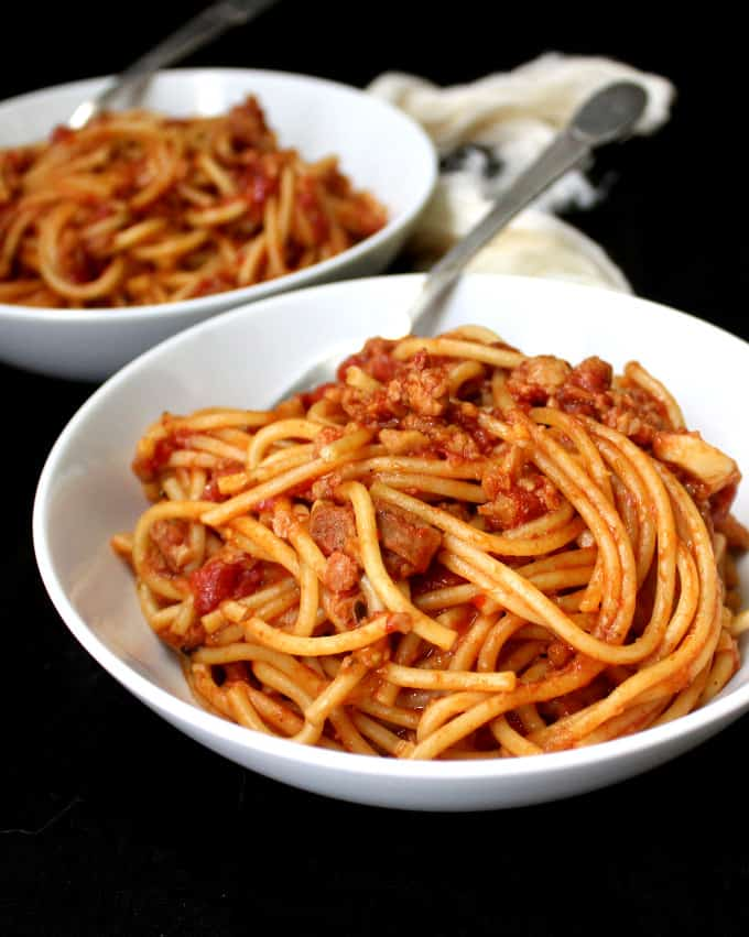 Instant Pot Vegan Spaghetti with Meaty Marinara, one pot, 15 minutes - holycowvegan.net