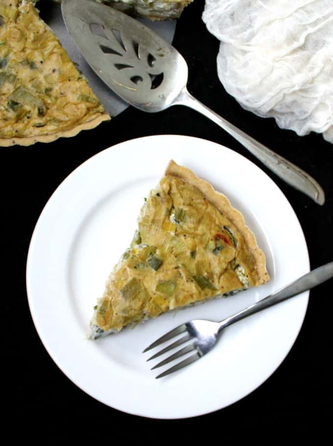 Vegan Leek Quiche with a whole wheat olive oil crust - HolyCowVegan.net