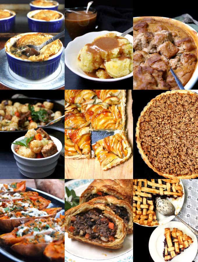 A collection of the best vegan Thanksgiving recipes on the internet for your family holiday table. With gluten-free, nut-free and soy-free options. #vegan #thanksgiving #recipes #maindishes #sides #desserts HolyCowVegan.net