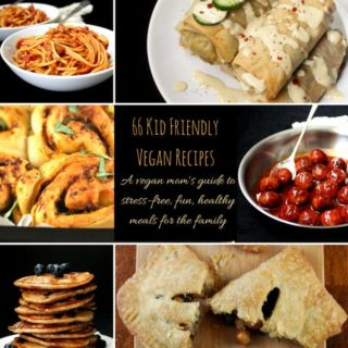 66 Kid Friendly Vegan Recipes. A vegan mom's guide to stress-free, fun and healthy meals for the family.