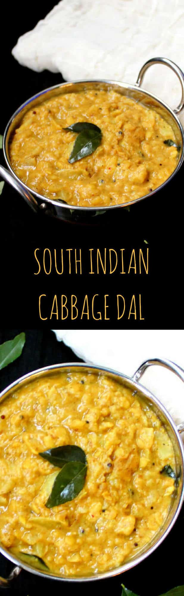 This South Indian Cabbage Dal, or Cabbage Kootu, is perfectly spiced and mellowed with coconut milk. Vegan, gluten-free, soy-free and nut-free - HolyCowVegan.net