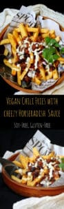 Vegan Chili Fries drizzled with a creamy, cheezy horseradish sauce - HolyCowVegan.net