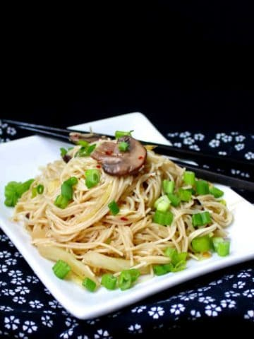 Vegan Chinese Longevity Noodles with Mushrooms and Ginger - HolyCowVegan.net