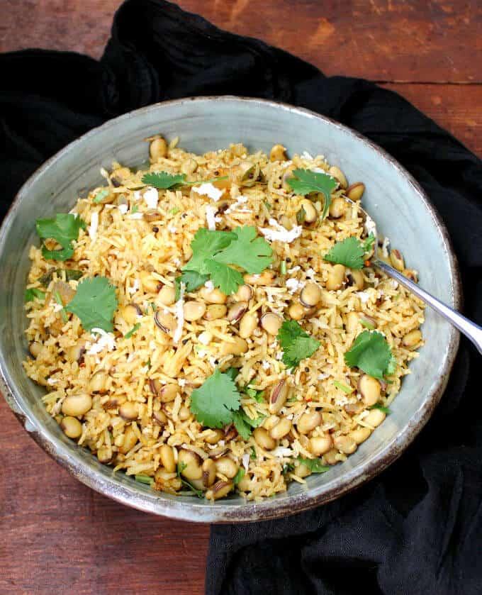 Hyacinth Beans Masala Rice Pilaf - HolyCowVegan.net