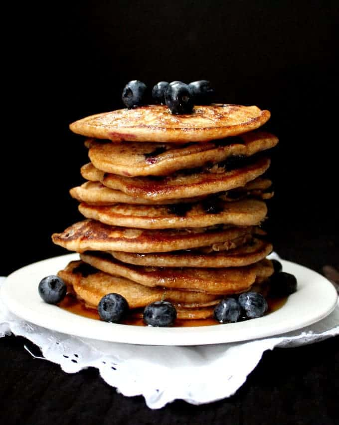 Vegan Sourdough Blueberry Pancakes - HolyCowVegan.net