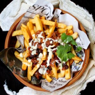Vegan Chili Fries with Cheezy Horseradish Sauce
