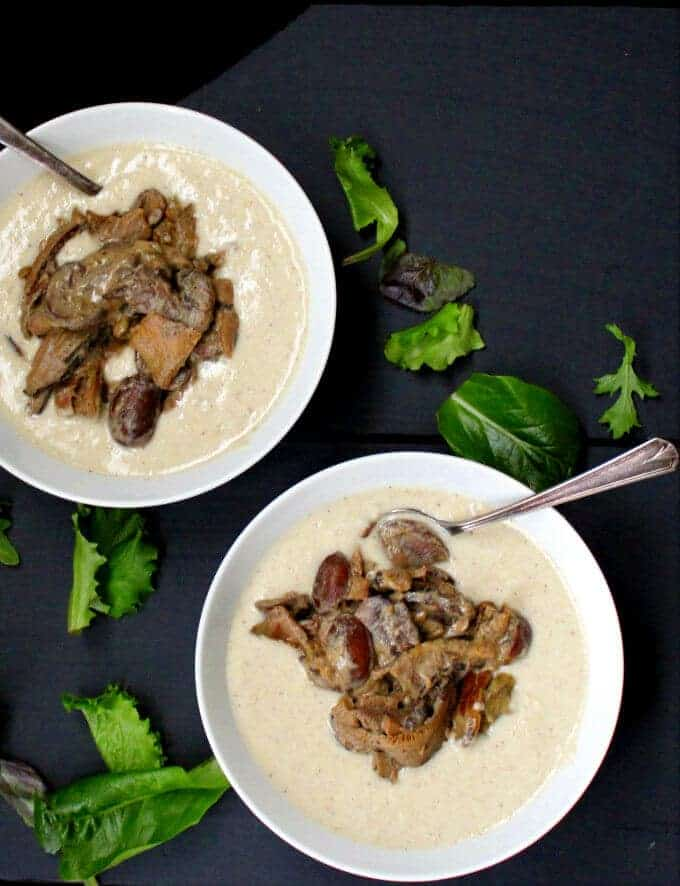 Creamy Polenta with Wild Mushrooms is an easy, elegant dish with layers of flavor. HolyCowVegan.net