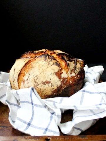 No Knead Sourdough Bread - HolyCowVegan.net