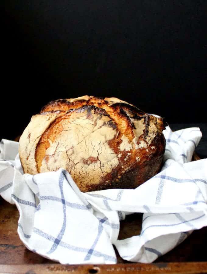No Knead Sourdough Bread - HolyCowVegan.net