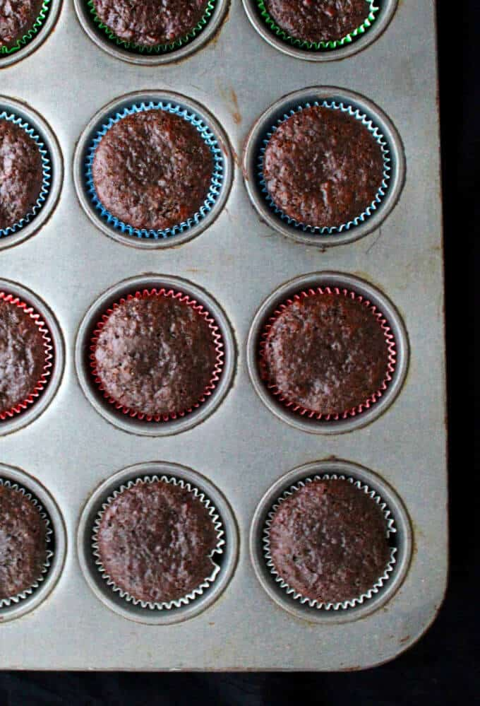 Fresh baked Vegan Chocolate Cherry Cupcakes in baking pan -- HolyCowVegan.net