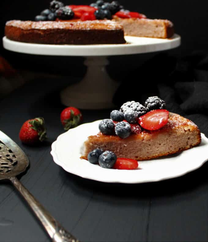 Gluten-Free Vegan Berry Almond Flour Cake - HolyCowVegan.net