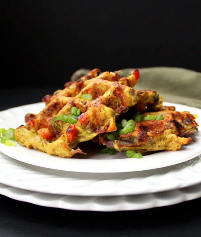 Vegan Hash Brown Waffles in plate.