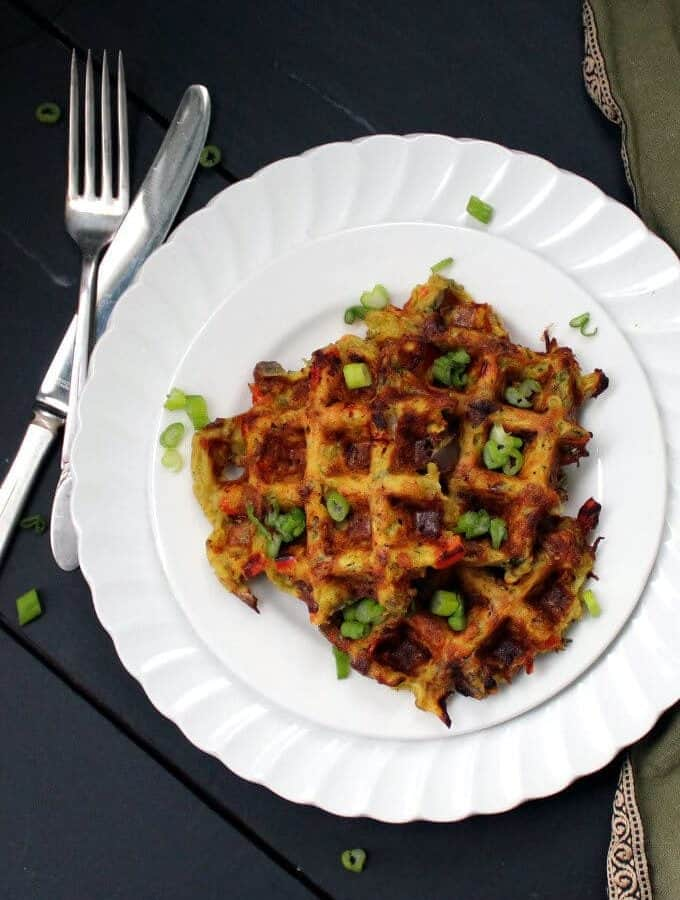 Vegan Hash Brown Waffles - HolyCowVegan.net