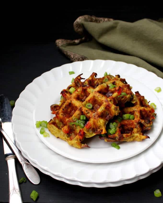 Veggie-Loaded Chickpea Waffles