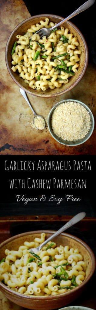 Garlicky Pasta with Asparagus and Cashew Parmesan #vegan #pasta #Italian #soyfree #vegancheese - HolyCowVegan.net