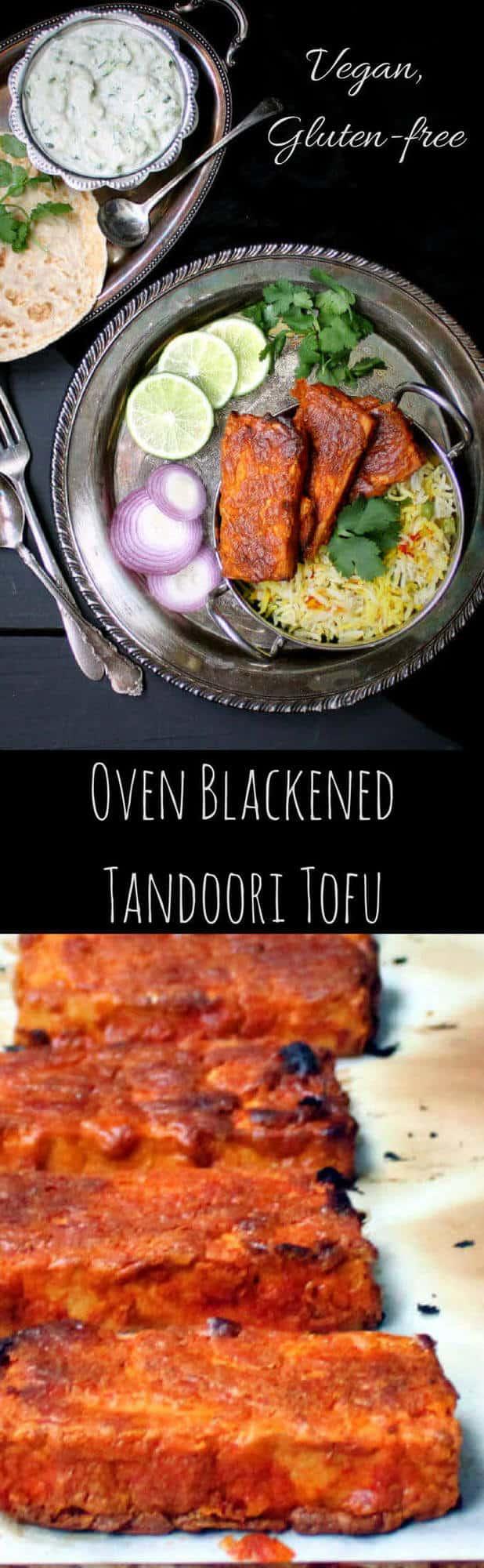 "Pin image of tofu with inlay that reads ""Oven Blackened Tandoori Tofu"""