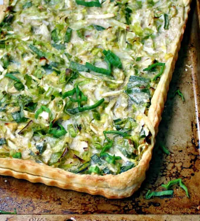 Cabbage Leek Potato Tart #vegan #stpatricksday #cabbage #potatoes #leeks HolyCowVegan.net