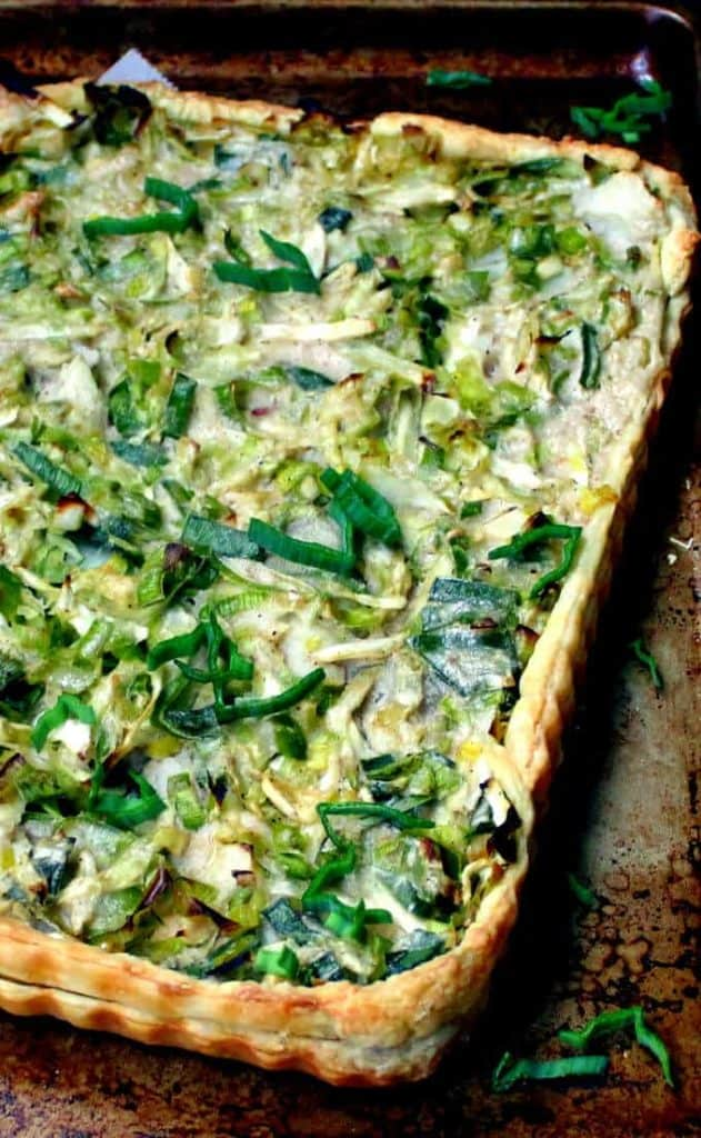 Cabbage Leek Potato Tart #vegan #stpatricksday #cabbage #potatoes #leeks HolyCowVegan.net