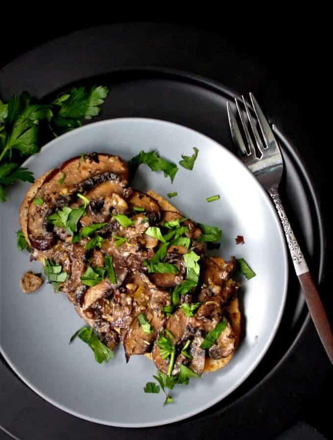 Mushrooms on Toast #vegan #mushrooms #breakfast HolyCowVegan.net