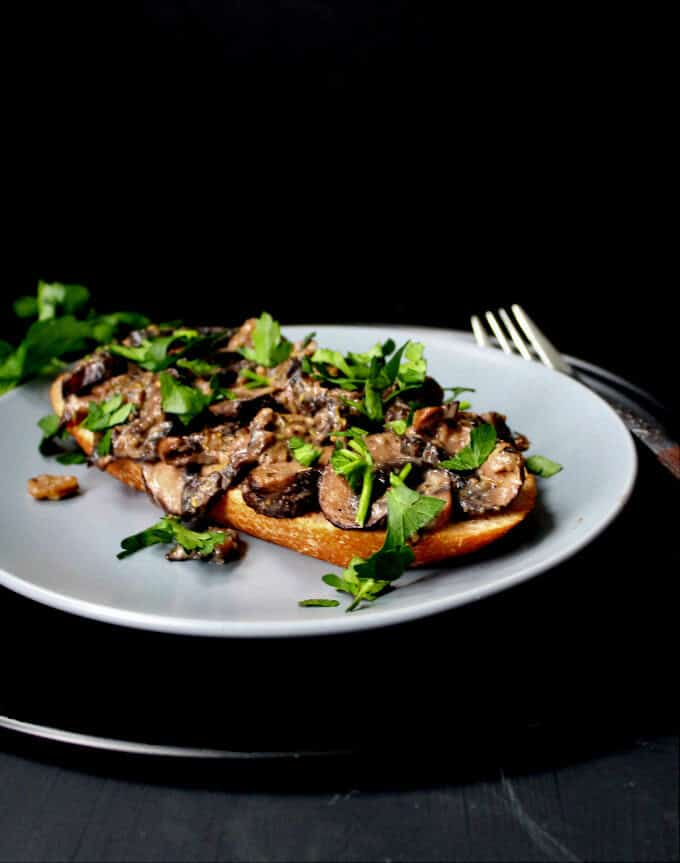 Mushrooms on Toast #vegan #mushrooms #breakfast HolyCowVegan.net