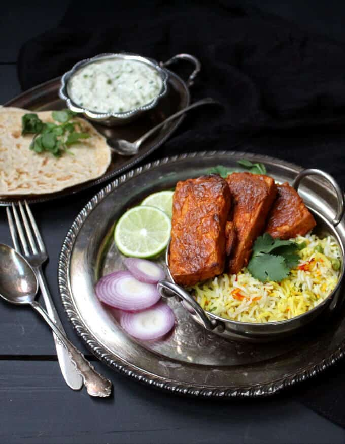 Oven Blackened Tandoori Tofu #vegan #tandoori #indian #tofu - HolyCowVegan.net