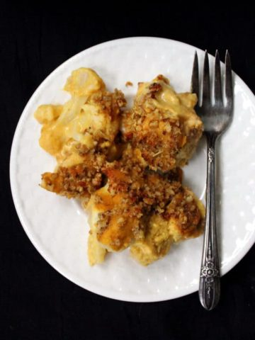 Vegan Cauliflower Cheese #vegan #glutenfree #soyfree #gratin #cassrerole. HolyCowVegan.net