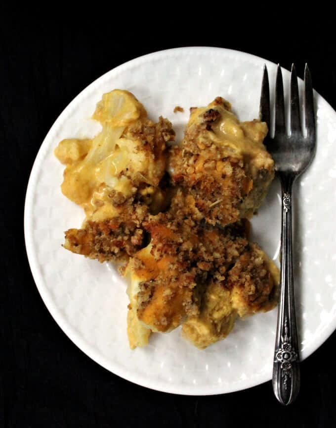 Vegan Cauliflower Cheese #vegan #glutenfree #soyfree #gratin #cassrerole. HolyCowVegan.net