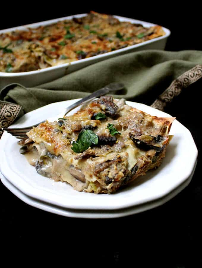Vegan Wild Mushroom Lasagna with Leeks and Bechamel #vegan #lasagna #italianrecipe #pasta #soyfree HolyCowVegan.net