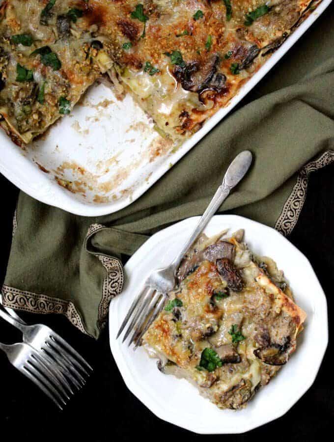 Vegan Wild Mushroom Lasagna with Leeks and Bechamel #vegan #lasagna #italianrecipe #pasta #soyfree HolyCowVegan.net