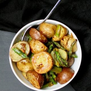Garlicky Roasted Asparagus and Potatoes