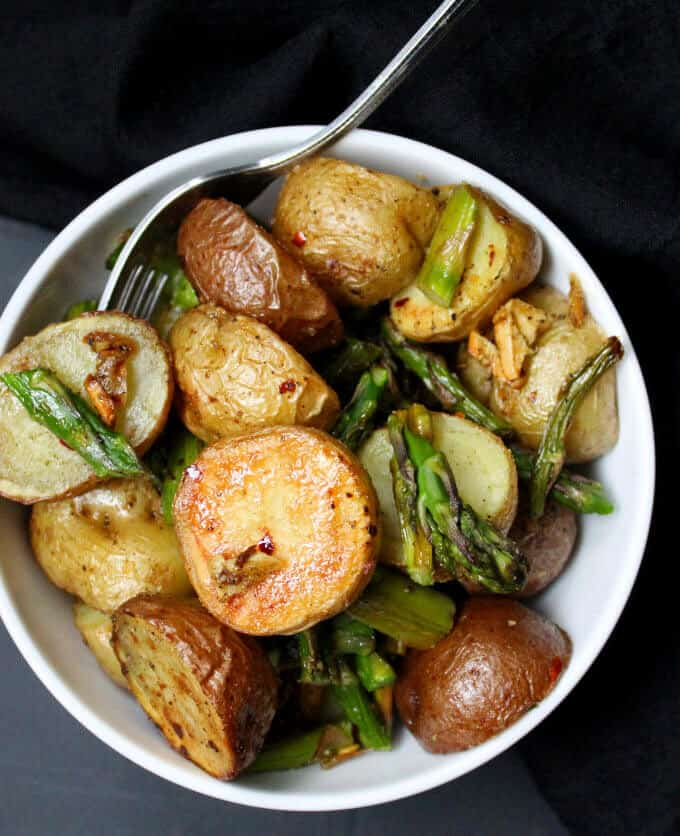 Garlicky Roasted Asparagus And Potatoes Holy Cow Vegan Recipes