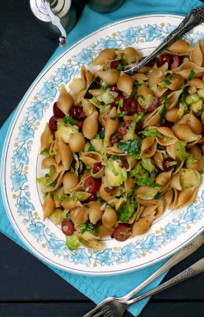 Speedy Pasta with Brussels Sprouts and Olives #vegan #soyfree #nutfree #pasta #italian HolyCowVegan.net