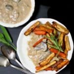 Creamy Herbed Grits with Leek Gravy and Roasted Root Veggies #vegan #glutenfree #soyfree #nutfree #grits #buddhabowl #mushrooms #leeks #rootvegetables HolyCowVegan.net