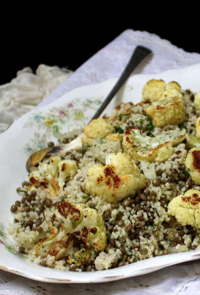 Roasted Cauliflower Couscous with Lentils and Mint #vegan #springrecipes #nutfree #soyfree #healthy HolyCowVegan.net
