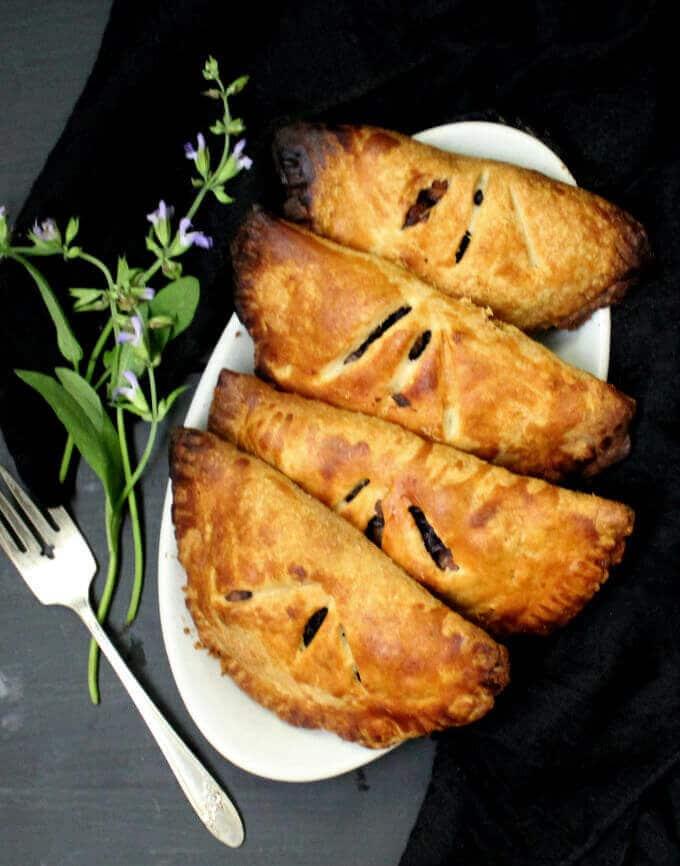 Vegan Cabbage Chickpea Torta #vegan #soyfree #nutfree #kidfriendly #handpie HolyCowVegan.net