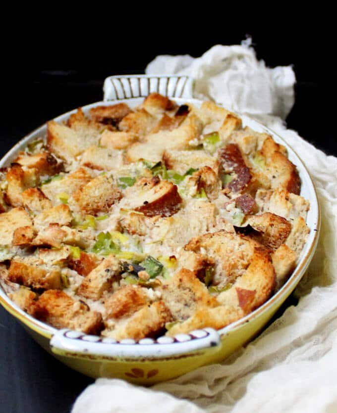 Vegan Leek and Sourdough Bread Pudding #vegan #nutfree #soyfree #breakfastfordinner HolyCowVegan.net