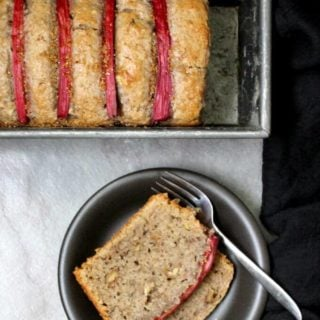 Vegan Rhubarb Bread with Walnuts, soy-free can be nut-free and wholegrain #vegan #cake #bread #rhubarb HolyCowVegan.net