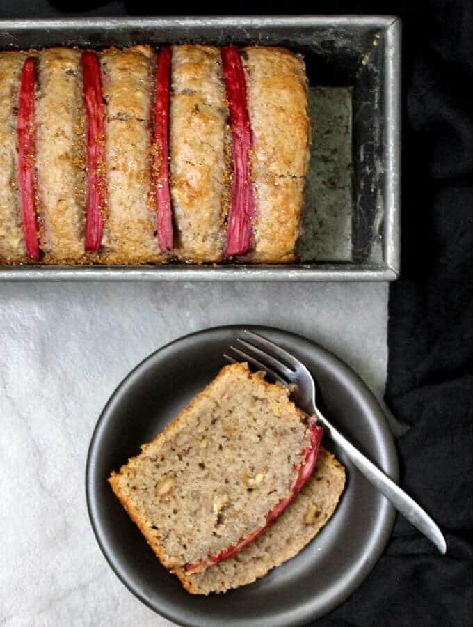 Vegan Rhubarb Bread with Walnuts, soy-free can be nut-free and wholegrain #vegan #cake #bread #rhubarb HolyCowVegan.net