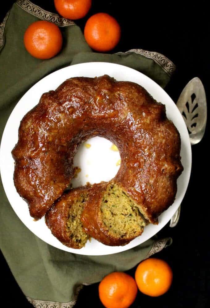 Vegan Zucchini Cake with Orange Marmalade Glaze #vegan #vegancake #zucchini #soyfree #cake HolyCowVegan.net