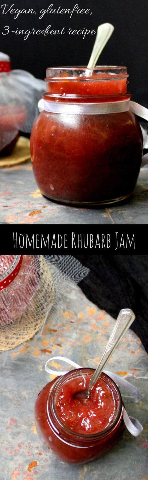 """Images of rhubarb jam in jars with inlay that reads """"homemade rhubarb jam"""""""