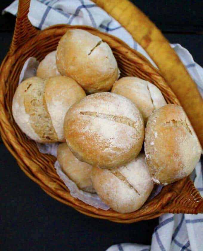 Crusty Sourdough Dinner Rolls, no knead, no added yeast #vegan #sourdough #bread HolyCowVegan.net