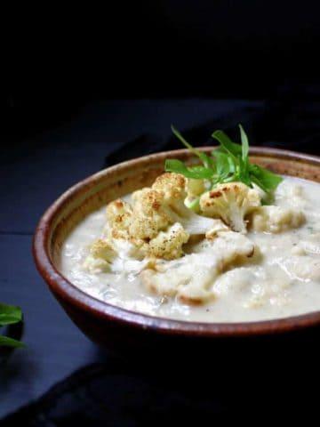 Roasted Cauliflower and Lima Bean Stew #vegan #glutenfree #soyfree #nutfree #dinner HolyCowVegan.net