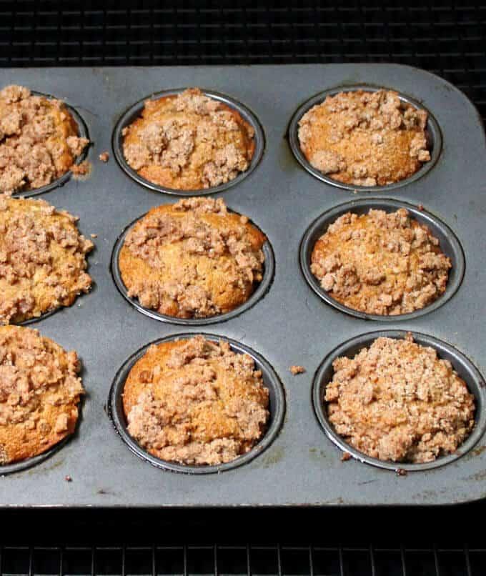 Vegan Banana Crumb Muffins in a muffin pan