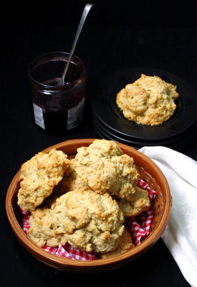 Vegan Buttermilk Drop Biscuits #vegan #biscuits #nutfree #soyfree HolyCowVegan.net