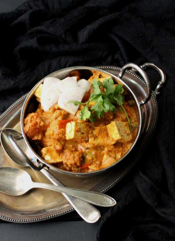 "Vegan Kadai Tofu ""Paneer"", gluten-free, can be nut-free #vegan #indian #tofu #curry #glutenfree HolyCowVegan.net"