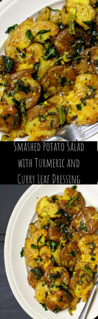 Smashed Potato Salad with Turmeric and Curry Leaves Dressing #turmeric #vegan #soyfree #glutenfree #nutfree #potatoes #sidedish #salad HolyCowVegan.net