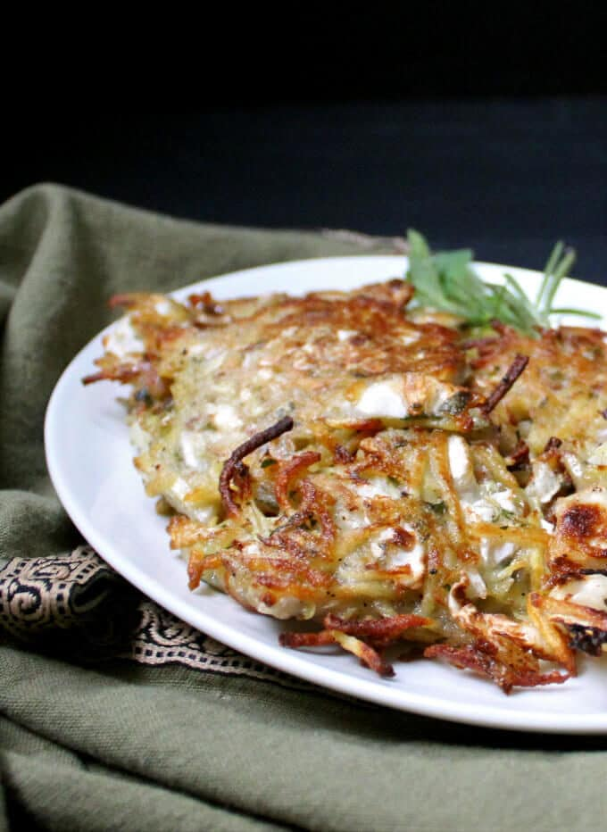 Vegan Potato Sauerkraut Pancakes or Latkes #potatoes #latkes #vegan #breakfast #sauerkraut #guthealthy HolyCowVegan.net