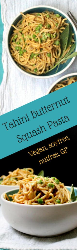 This creamy, delicious Tahini Butternut Squash Pasta will be a hit at your dinner table. Roasted butternut cubes are blended with tahini into a smooth sauce and spiked with smoky sage. Green peas add sweetness, flavor and texture. Make with whole wheat pasta or gluten-free pasta. A vegan, soy-free and nut-free recipe. Sauce is gluten-free. #vegan #soyfree #nutfree #glutenfree #pasta HolyCowVegan.net
