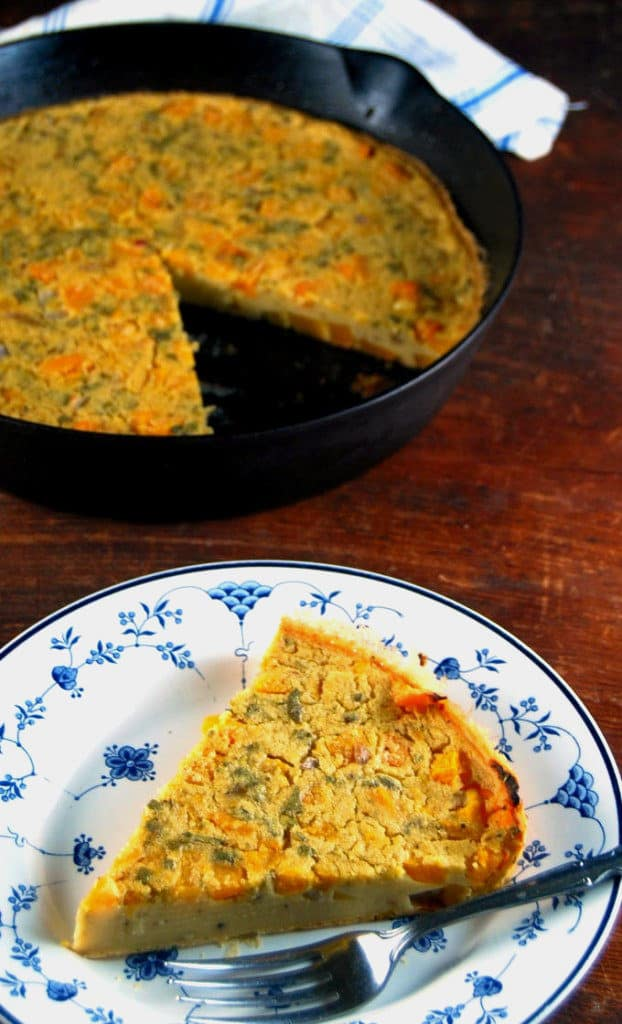 This vegan Butternut Squash Farinata makes a complete and delicious meal in no time at all. Sage and thyme add pockets of flavor. A vegan, gluten-free, soy-free and nut-free recipe. #vegan #soyfree #glutenfree #nutfree #dinner #butternutsquash HolyCowVegan.net
