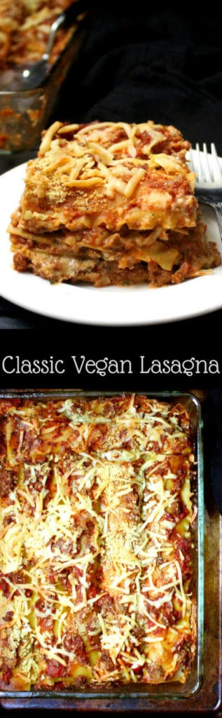 "A classic vegan lasagna recipe with a meatfree ""meat"" sauce and vegan ricotta, parmesan and mozzarella cheeses. Perfect comfort food for a crowd or for a cozy dinner in with family or friends. #vegan #lasagna #thanksgiving #recipes #holidays #italianfood #pasta HolyCowVegan.net"